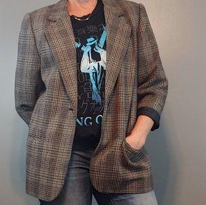 Vintage Sag Harbor plaid blazer petite size 12